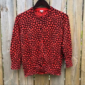 J Crew | Red hearts knitted cardigan Size M